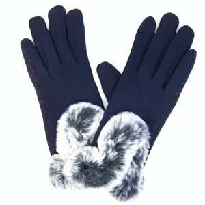 Accessories - Faux Fur Navy Blue Gloves Comfortable Wear